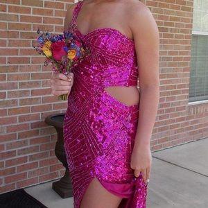 Pink Sequins Prom Dress